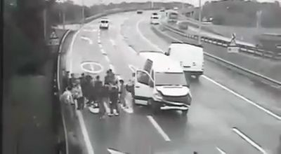 Infinite number of passengers from a crashed van (Video)