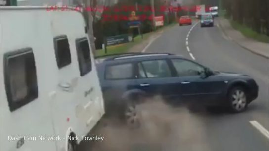 Car pulling a caravan fails to overtake in time - DrivingOnly.com