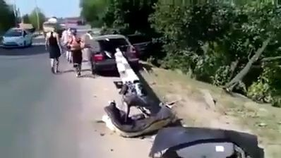 Horrifying imagery of how road barrier went right through the middle of a car