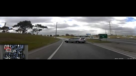 Careless driver misses a junction and then causes an accident
