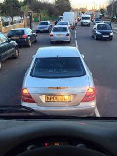 Car driver probably never took a look at his mirrors (Photo)