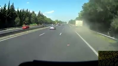 Tyre explosion blows lorry of the road (Video)